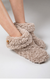 indoor slippers with wooden horn button, taupe