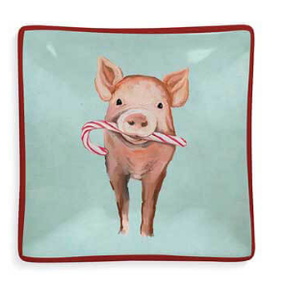 festive pig decorative dish