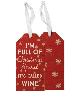 I'm full of christmas spirit wine tag