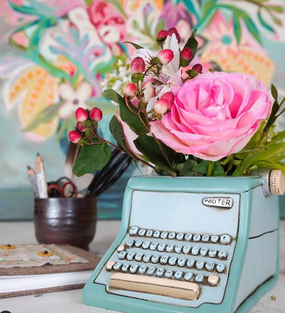 Typewriter planter, retro, measures approx. 5″ (H) x 6.5″ (W) x 7.5 (D), plug in bottom, hand-painted & handmade