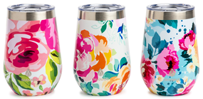 Floral stemless tumblers, water, wine, double-wall, stainless steel, lid with rubber seal, cold or hot, 12 hours,composition: stainless steel, BPA Free Lid.