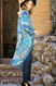 "Teal, boho mandala kimono, split angel sleeve, APPROX. L 39 1/2"" W 71"""