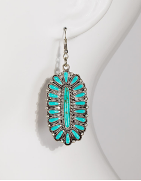 """Oval blossom and natural stone dangle earrings, turquoise, APPROX. L 2"""" W 1"""", Nickle/Lead Compliant"""