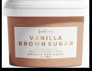 body scrub, vanilla brown sugar, pure cane sugar, super-fine salt, gently exfoliate, cocoa, shea, avocado butters