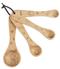 """Measuring spoons, beechwood, dog, 1 Tbsp, Tsp,  1/2 Tsp,  1/4 Tsp, sealed with soy oil.  4 pc set 51/2""""L. avg."""