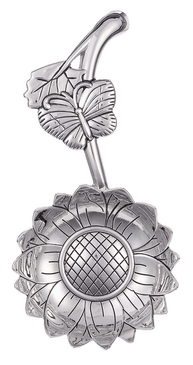 "Sunflower, spoon rest, tea bag holder, 1 TBSP measure, silver Dimensions:  21/4"" W. x 45/8"" L. avg."