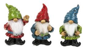 Gnomes, stone, good luck, green, red, blue