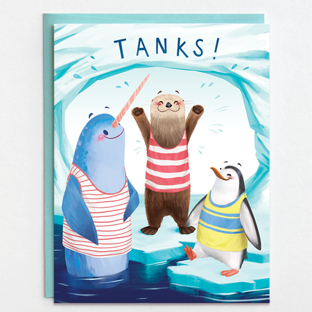 thank you card, tanks, penguin, otter, seal, earth friendly