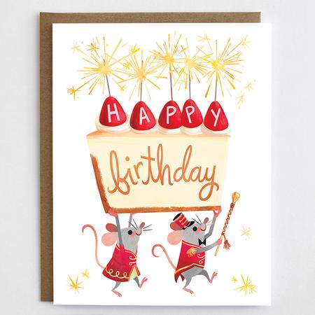 Birthday card, mice, happy birthday, cheesecake, earth friendly