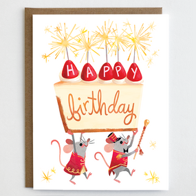 Birthday card, mice, happy birthday, cheesecake, earth friendly