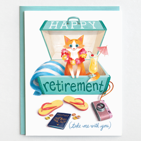 Retirement card, travel, suitcase, cat, earth friendly