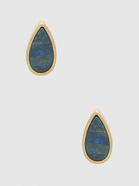 semiprecious natural stone teardrop earrings, blue, Size : HEIGHT: 15MM