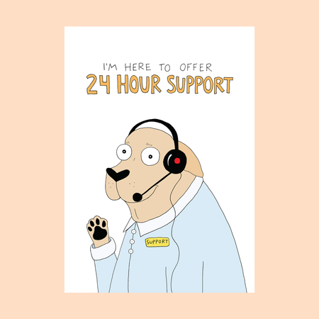 24 hour support , encouragement card, blank inside
