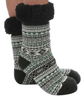 tall bright sherpa socks, black