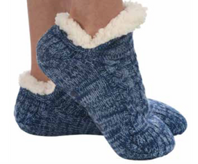 footie sweater sherpa sock, blue