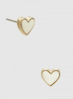 tiny heart shaped button post earrings, mother of pearl
