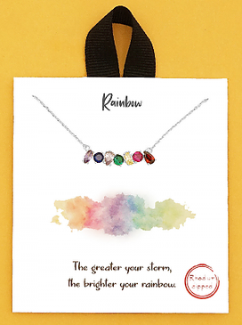rhodium rainbow crystal pave delicate necklace