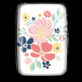 credit card case, white wildflower