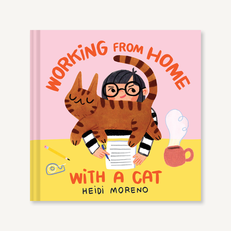 working from home with a cat, book
