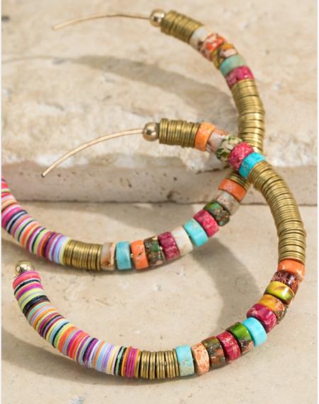 brass multi beaded hoop earrings