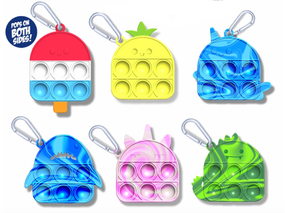 pop fidgety key chain, popsicle, pineapple, narwhal, shark, unicorn, dinosaur