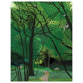 girl in tree birthday card