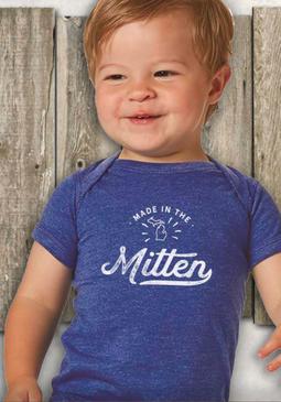 made in the mitten onesie, 6 months, 12 months