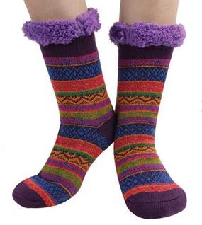 tall nordic sherpa sock, purple
