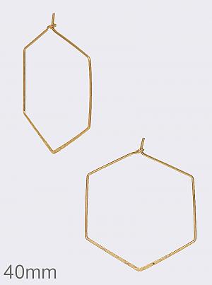 wire hexagon hoop earrings, worn gold
