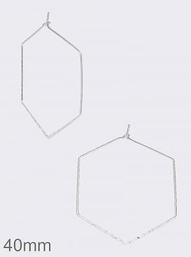 wire hexagon hoop earrings, worn silver