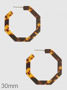 30 mm acetate octagon hoop earrings