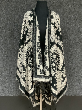 black tapestry cape