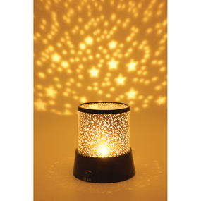 "Transform any room into a dreamy galaxy with thousands of soft-glowing stars!  Starry Sky LED Room Light Features: Material: ABS Packaging: Color Box Size: 4.25"" Dia. X 4.5""H Made by Streamline"