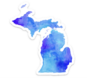 "Let everyone know your love for our state with this vivid Michigan watercolor sticker This beautiful and brightly colored sticker is created from an original watercolor painting.  The edge has a white border. Size: 4"" x 3.5"""