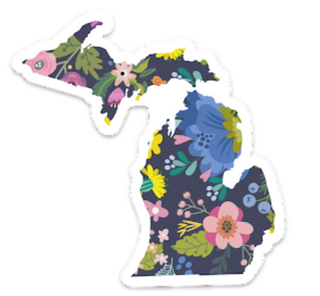 """Let everyone know your love for our state with this pretty patterned floral Michigan sticker. The edge has a white border. Size: 4"""" x 3.5"""""""