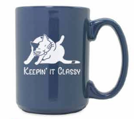 Cat lovers will get a kick out of this silly mug.   The shiny glaze on each mug is deeply sand etched with your favorite cat bathing position Size: 15 oz