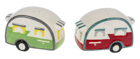 Dolomite camper salt and pepper shakers, red and green