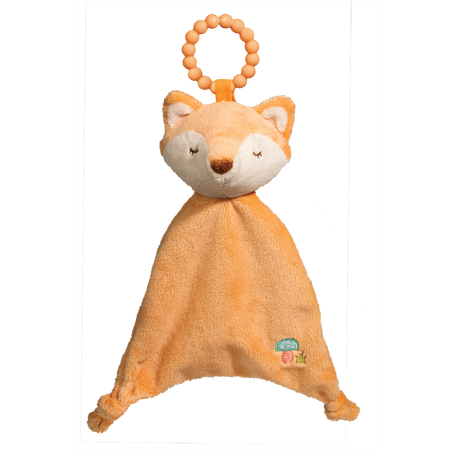 "Shy Little Fox says chew (and snuggle) away! Luxuriously soft materials of our best-selling Sshlumpie with the added bonus of a teether ring built in! 100% silicone is safe and soothing for baby. For ages birth and up. Machine wash.  10"" tall."