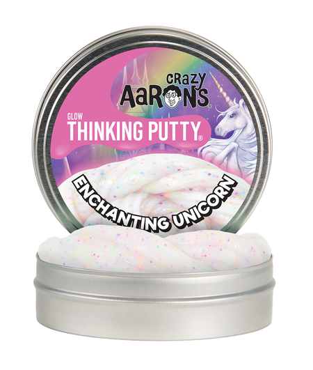 A mythical symbol of beauty and strength, the unicorn has fascinated people throughout the ages. Believe in magic with Enchanting Unicorn Thinking Putty®. It charms with a rainbow of neon confetti, shines with golden glitter, and glows a pretty pink in the dark. Color: White with rainbow glitter | Glows Pink Features: Glows, Sparkle, Poppable, Soft Texture Materials: Non-toxic silicone Each tin includes 1/5 lb (3.2 oz) of putty Manufactured with the help of exceptional individuals challenged with disabilities Tons of fun for ages 3+ Never dries out! Proudly made in the USA