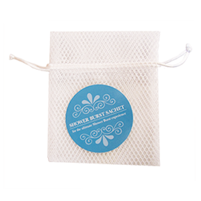 Use a sachet to make your Shower Burst experience even better!  Unwrap your Shower Bursts and drop it in the sachet. Hang the sachet in your shower and wet briefly.  Your Shower Burst will dry between uses and be ready for your next shower.