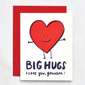 paper weight: 100 lb ecru 100% recycled paper  dimensions: 4.25 × 5.5 inside greeting: blank front greeting: big hugs i love you grandpa!