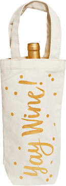 "If ""Yay Wine!"" is the first thing you say when you hear a pop, welcome to the squad! Take your favorite with you anywhere you go from birthday parties to other celebrations in this canvas wine tote."