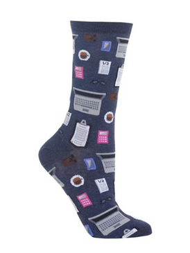 womens accountant crew socks, women's shoe size 4 - 10.5