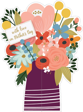 vase and flowers, mother's day card
