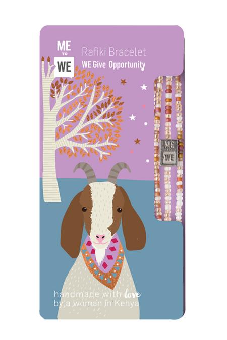 opportunity rafiki bracelet - goat, pink beads