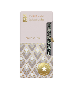 serenity rafiki bracelet – education, black, grey, pearly white beads