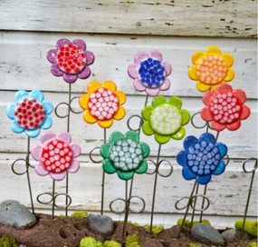 "colorful ceramic flower pick, 3.75"" x 14 1/4"""