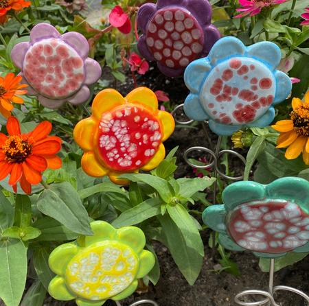 "colorful ceramic flower pick, 3.75"" x 14 1/4"""