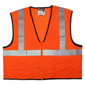 "Safety Vest, Economy Class 2 Mesh, 2"" Silver Reflective, Zipper Front, 3 Pockets, Orange"