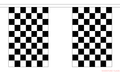 """Checkered Black & White Bunting 100% Polyester 6m long, 20x 6x9"""" Flags"""